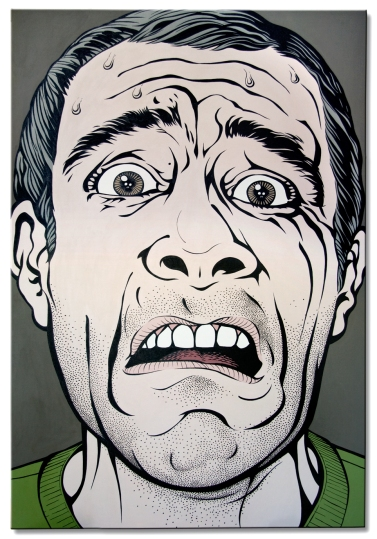 "Gloups! 2008, self portrait, acrylic painting on canvas, 72"" x 48"" (182 cm x 122 cm)."